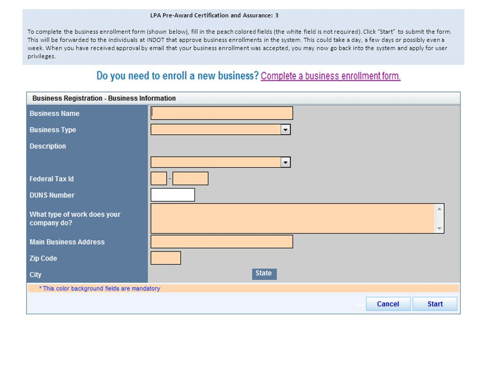 LPA Pre-Award Certification and Assurance: 3 To complete the business enrollment form (shown below), fill in the peach colored fields (the white field is not required).