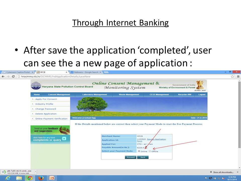 Through Internet Banking After save the application 'completed', user can see the a new page of application :