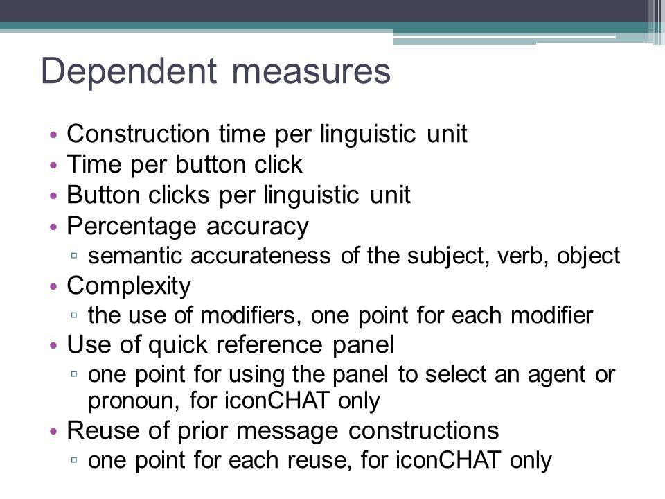 Dependent measures Construction time per linguistic unit Time per button click Button clicks per linguistic unit Percentage accuracy ▫ semantic accura