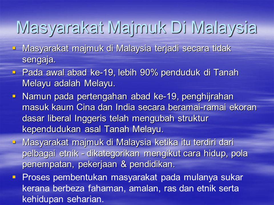 Masyarakat Majmuk Di Malaysia  Masyarakat majmuk di Malaysia terjadi secara tidak sengaja.