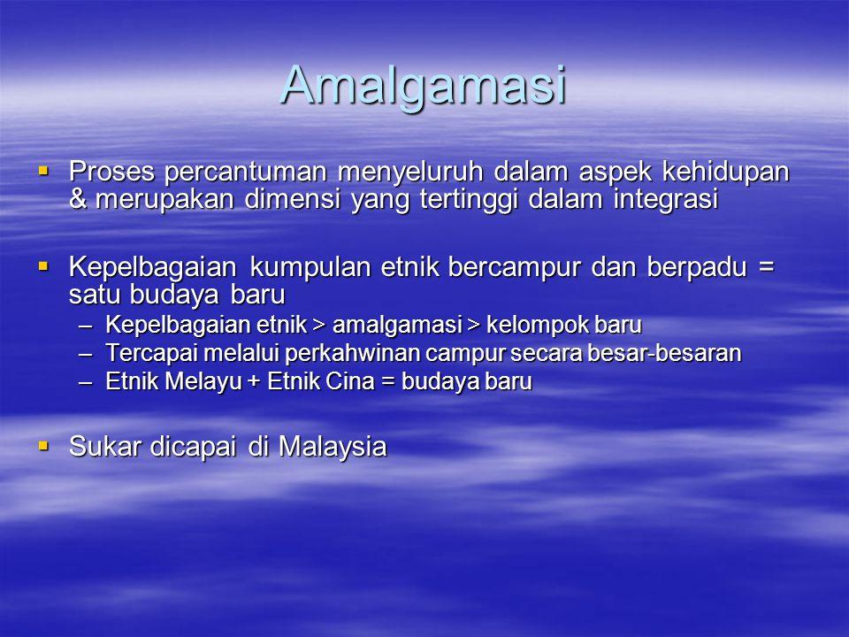 Amalgamasi  Proses percantuman menyeluruh dalam aspek kehidupan & merupakan dimensi yang tertinggi dalam integrasi  Kepelbagaian kumpulan etnik bercampur dan berpadu = satu budaya baru –Kepelbagaian etnik > amalgamasi > kelompok baru –Tercapai melalui perkahwinan campur secara besar-besaran –Etnik Melayu + Etnik Cina = budaya baru  Sukar dicapai di Malaysia