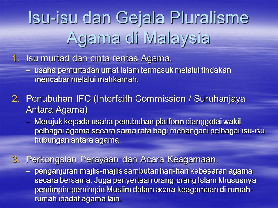 Isu-isu dan Gejala Pluralisme Agama di Malaysia 1.Isu murtad dan cinta rentas Agama.
