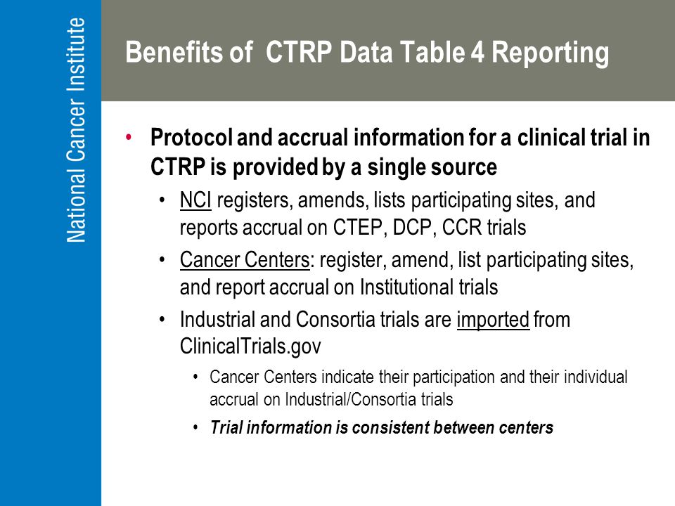 Benefits of CTRP Data Table 4 Reporting Protocol and accrual information for a clinical trial in CTRP is provided by a single source NCI registers, amends, lists participating sites, and reports accrual on CTEP, DCP, CCR trials Cancer Centers: register, amend, list participating sites, and report accrual on Institutional trials Industrial and Consortia trials are imported from ClinicalTrials.gov Cancer Centers indicate their participation and their individual accrual on Industrial/Consortia trials Trial information is consistent between centers