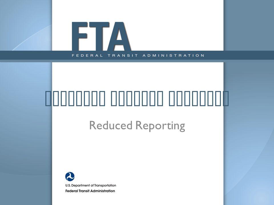 National Transit Database Reduced Reporting