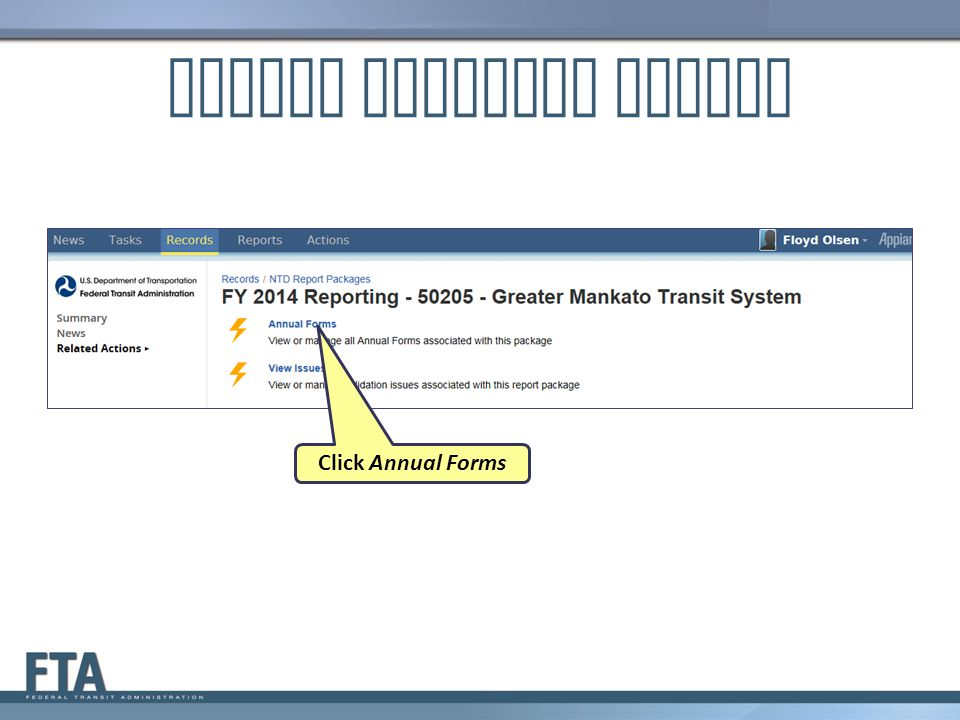 Report Packages Screen Click Annual Forms