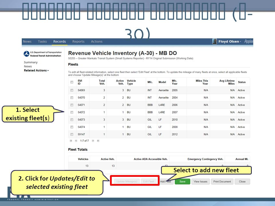 Revenue Vehicle Inventory ( A - 30) 1. Select existing fleet(s) 2. Click for Updates/Edit to selected existing fleet Select to add new fleet