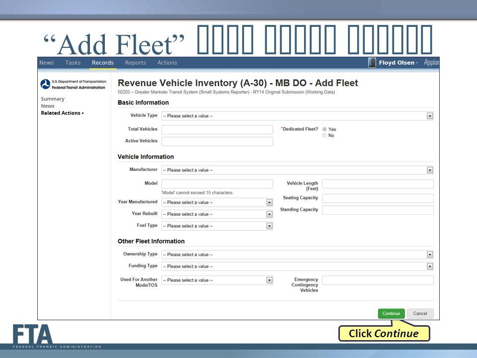 """Add Fleet"" Data Entry Screen Click Continue"