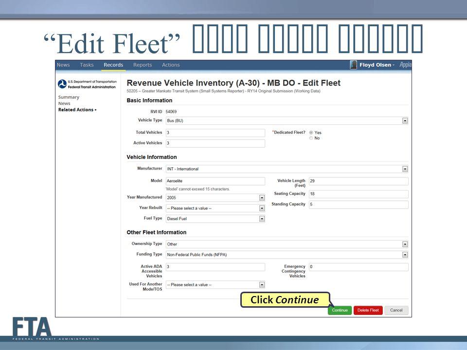 """Edit Fleet"" Data Entry Screen Click Continue"