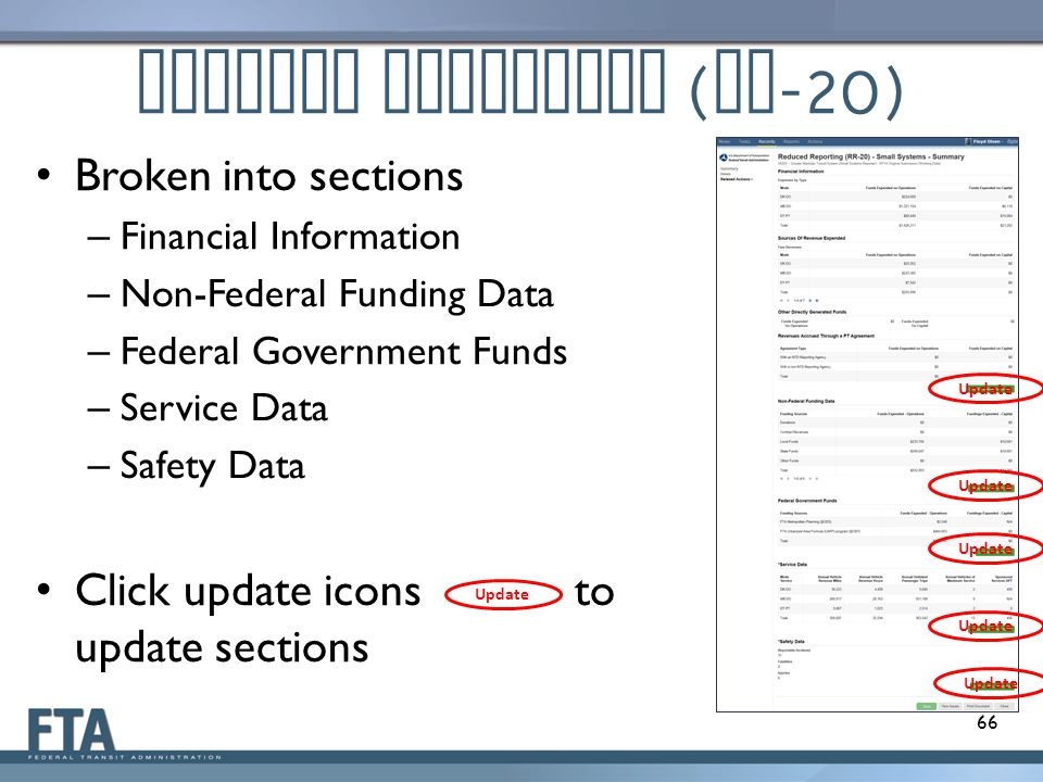Reduced Reporting ( RR -20) 66 Broken into sections – Financial Information – Non-Federal Funding Data – Federal Government Funds – Service Data – Saf