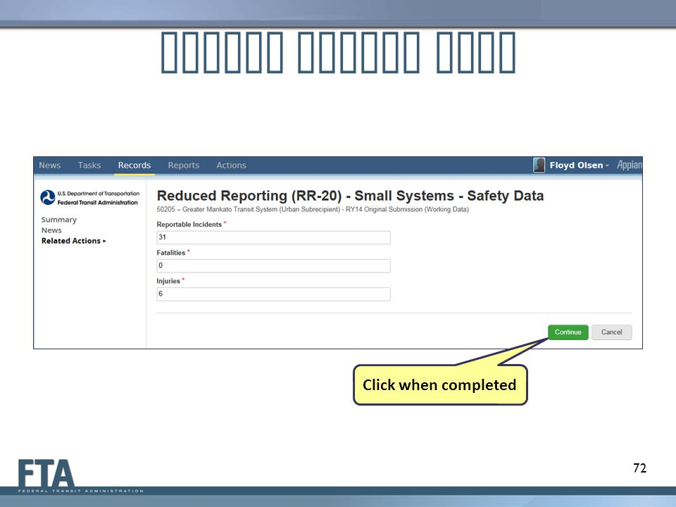 Update Safety Data 72 Click when completed