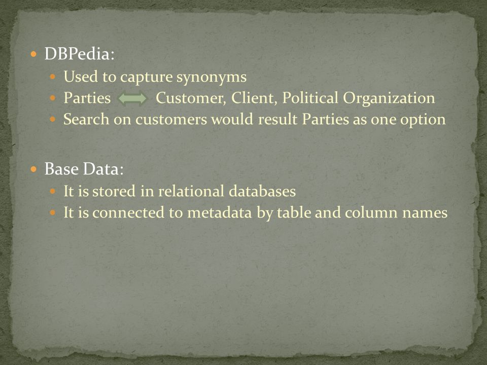 DBPedia: Used to capture synonyms Parties Customer, Client, Political Organization Search on customers would result Parties as one option Base Data: I