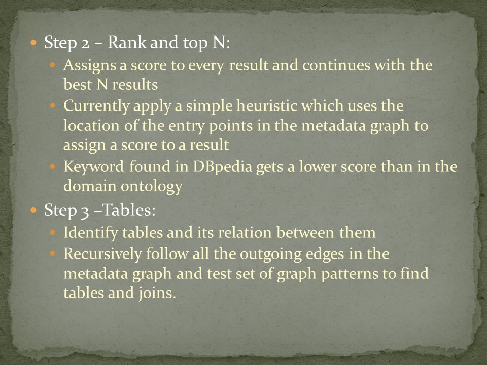 Step 2 – Rank and top N: Assigns a score to every result and continues with the best N results Currently apply a simple heuristic which uses the locat