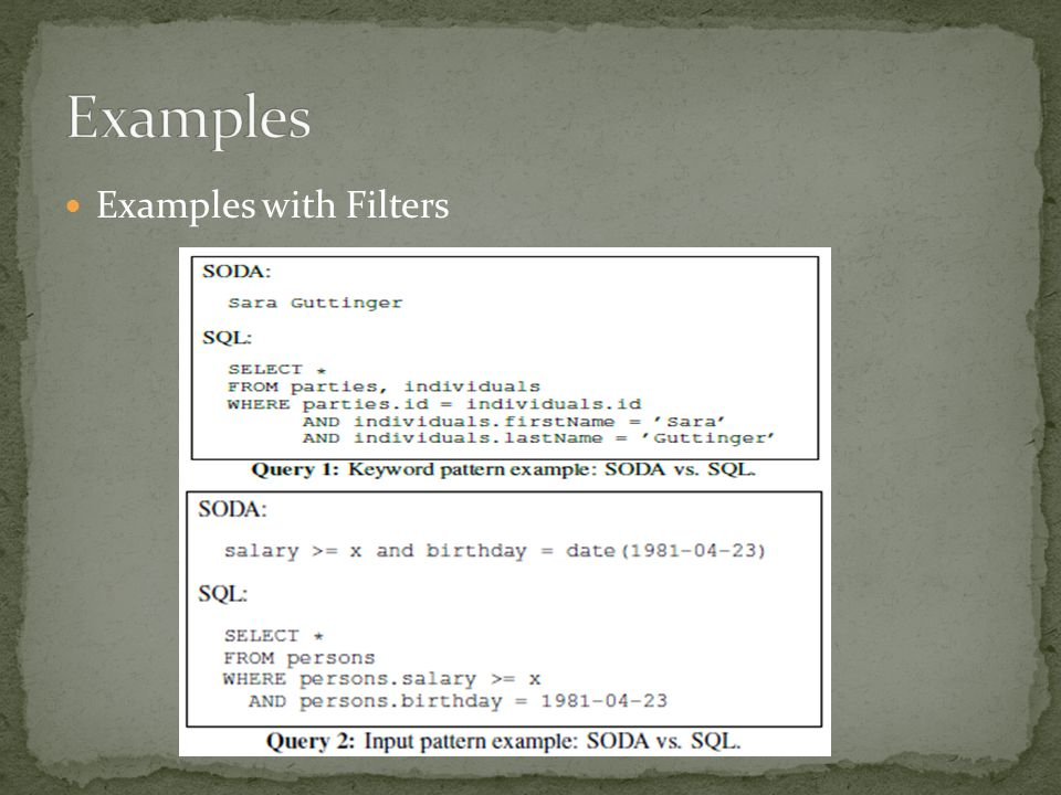 Examples with Filters