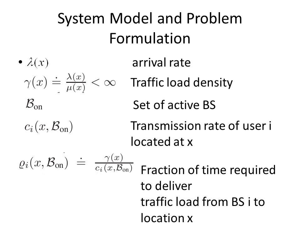 Feasible solution to the problem: utilizations of BSs Note that in optimal case p(x) is either 1 or 0
