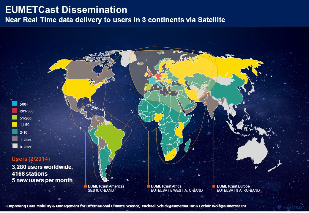 7 Improving Data Mobility & Management for International Climate Science, Michael.Schick@eumetsat.int & Lothar.Wolf@eumetsat.int EUMETCast Dissemination Near Real Time data delivery to users in 3 continents via Satellite Users (2/2014) 4 3 2-10 11-50 51-200 201-500 1 User 500+ 0 User 3,280 users worldwide, 4168 stations 5 new users per month EUMETCast Americas SES 6, C-BAND EUMETCast Africa EUTELSAT 5 WEST A, C-BAND EUMETCast Europe EUTELSAT 9 A, KU-BAND