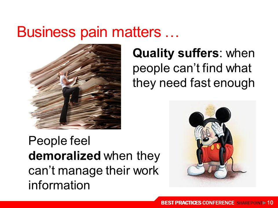 BEST PRACTICES CONFERENCE SHAREPOINT 10 Business pain matters … Quality suffers: when people can't find what they need fast enough People feel demoralized when they can't manage their work information