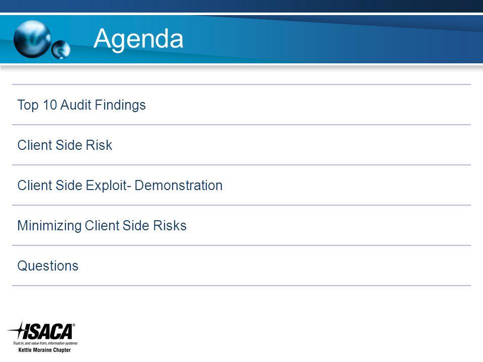 Agenda Slide Heading Top 10 Audit Findings Client Side Risk Client Side Exploit- Demonstration Minimizing Client Side Risks Questions