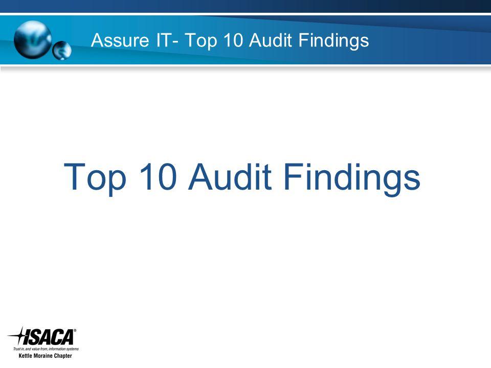Assure IT- Top 10 Audit Findings Top 10 Audit Findings