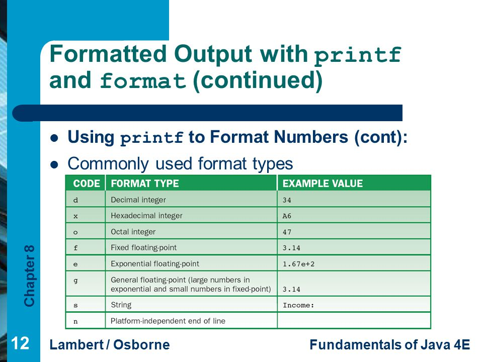 Chapter 8 Lambert / OsborneFundamentals of Java 4E Formatted Output with printf and format (continued) Using printf to Format Numbers (cont): Commonly