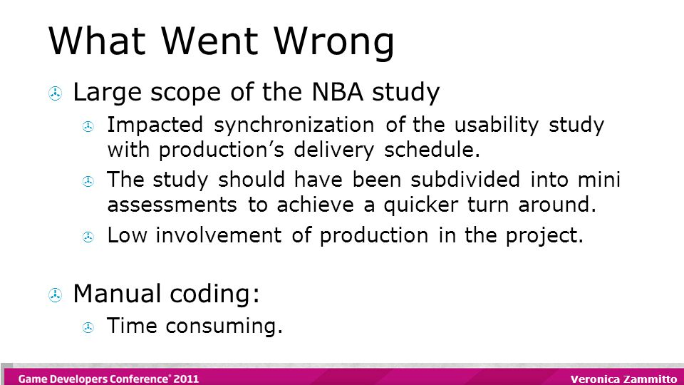 Veronica Zammitto What Went Wrong  Large scope of the NBA study  Impacted synchronization of the usability study with production's delivery schedule.