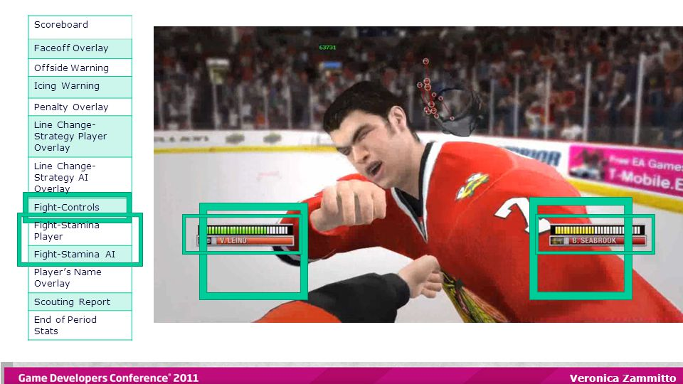 Veronica Zammitto Scoreboard Faceoff Overlay Offside Warning Icing Warning Penalty Overlay Line Change- Strategy Player Overlay Line Change- Strategy AI Overlay Fight-Controls Fight-Stamina Player Fight-Stamina AI Player's Name Overlay Scouting Report End of Period Stats