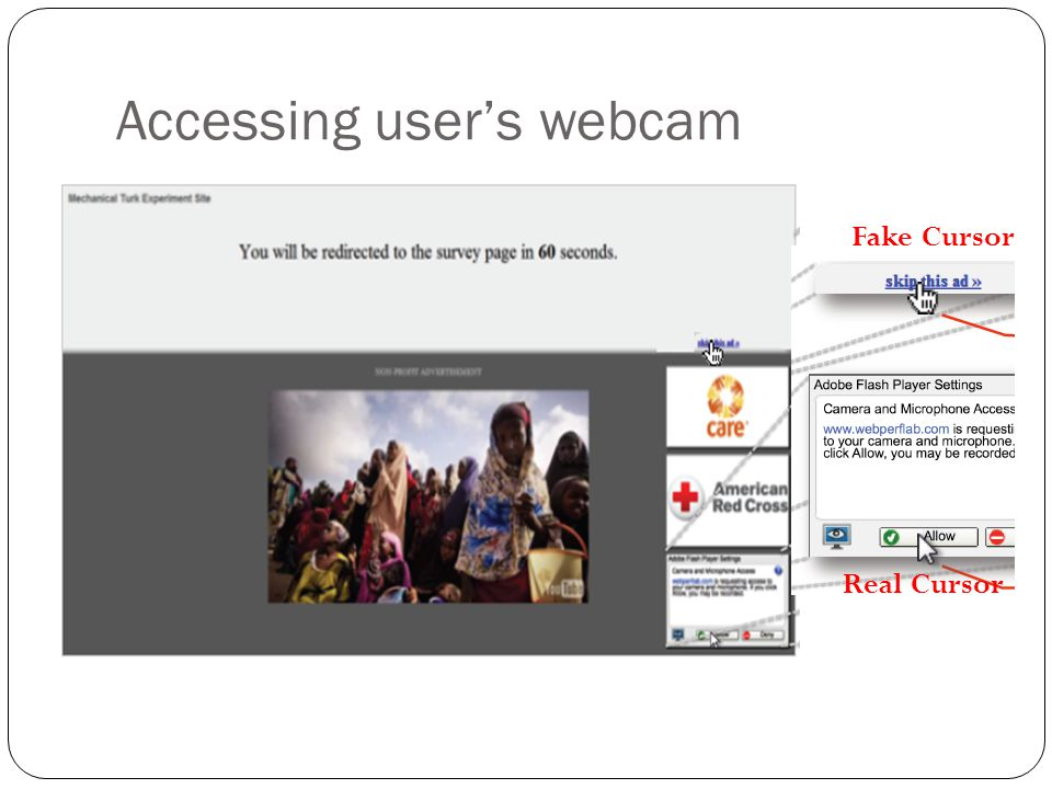 Accessing user's webcam Fake Cursor Real Cursor