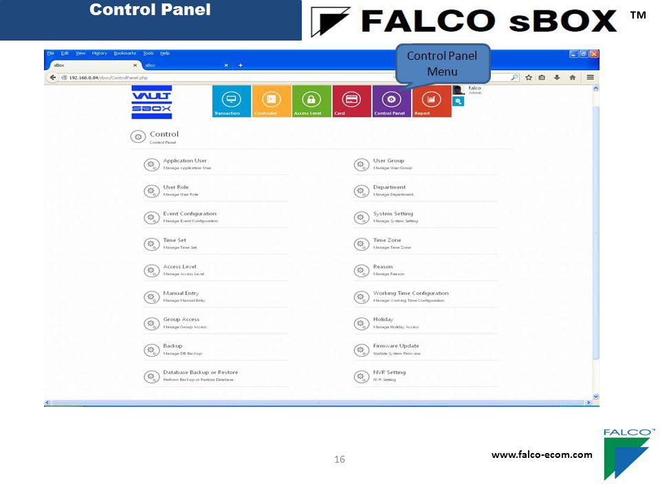 Control Panel ™ www.falco-ecom.com 16 Control Panel Menu