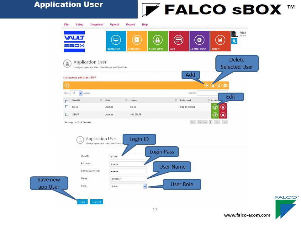 Application User ™ www.falco-ecom.com 17 Add Edit Login ID Login Pass User Name User Role Save new app User Delete Selected User