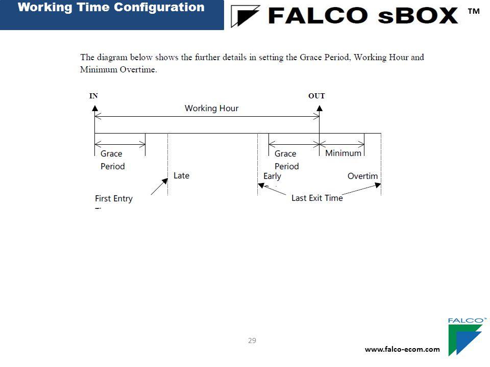 Working Time Configuration ™ www.falco-ecom.com 29