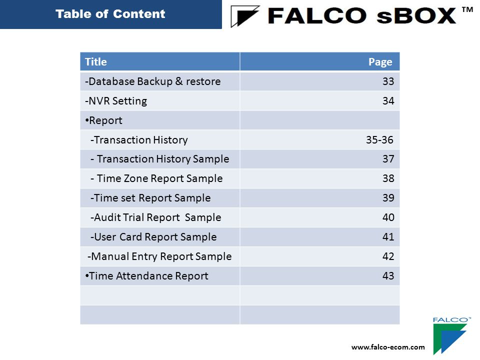 Audit Trial Report ™ www.falco-ecom.com 40 Filter Which date Machine name will Show Pc name or Client ip address Filter by User Login Name Filter by Event type