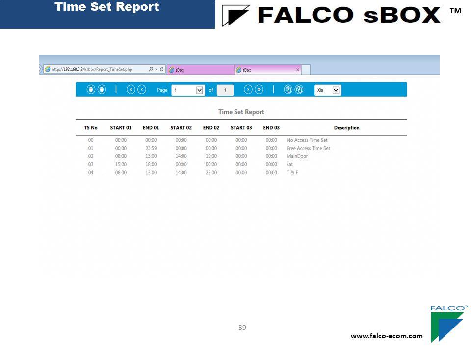 Time Set Report ™ www.falco-ecom.com 39