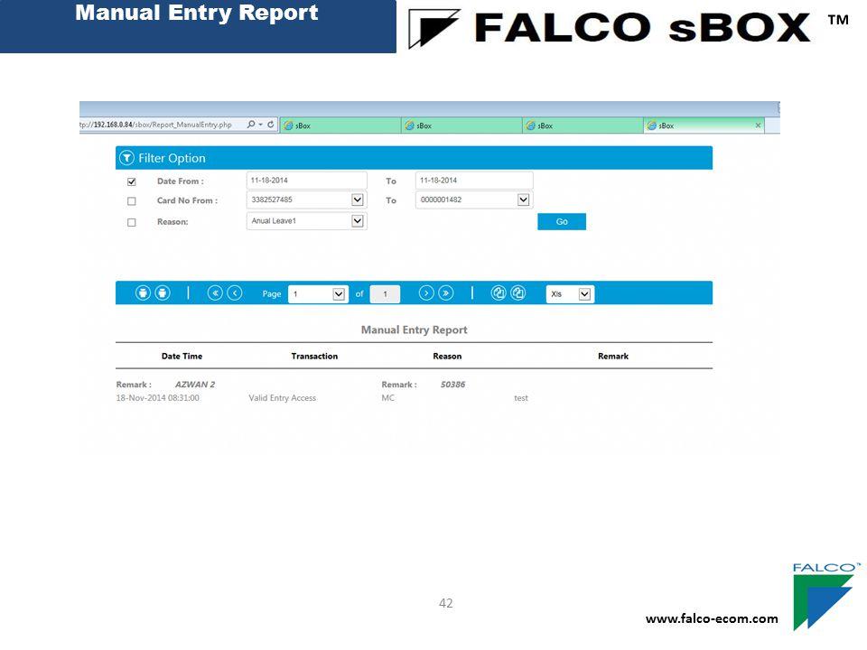Manual Entry Report ™ www.falco-ecom.com 42