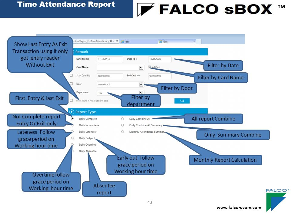 Time Attendance Report ™ www.falco-ecom.com 43 First Entry & last Exit Not Complete report Entry Or Exit only Lateness Follow grace period on Working