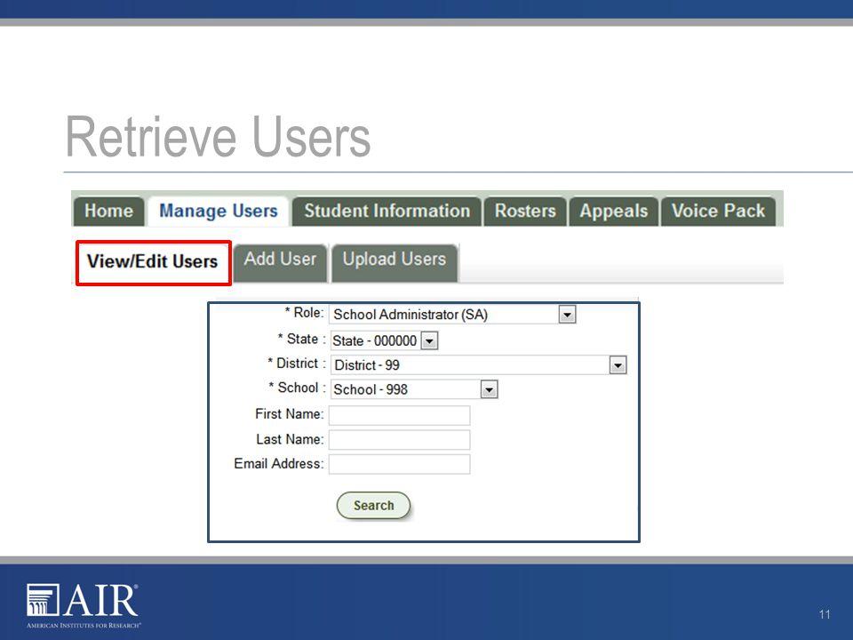Retrieve Users 11