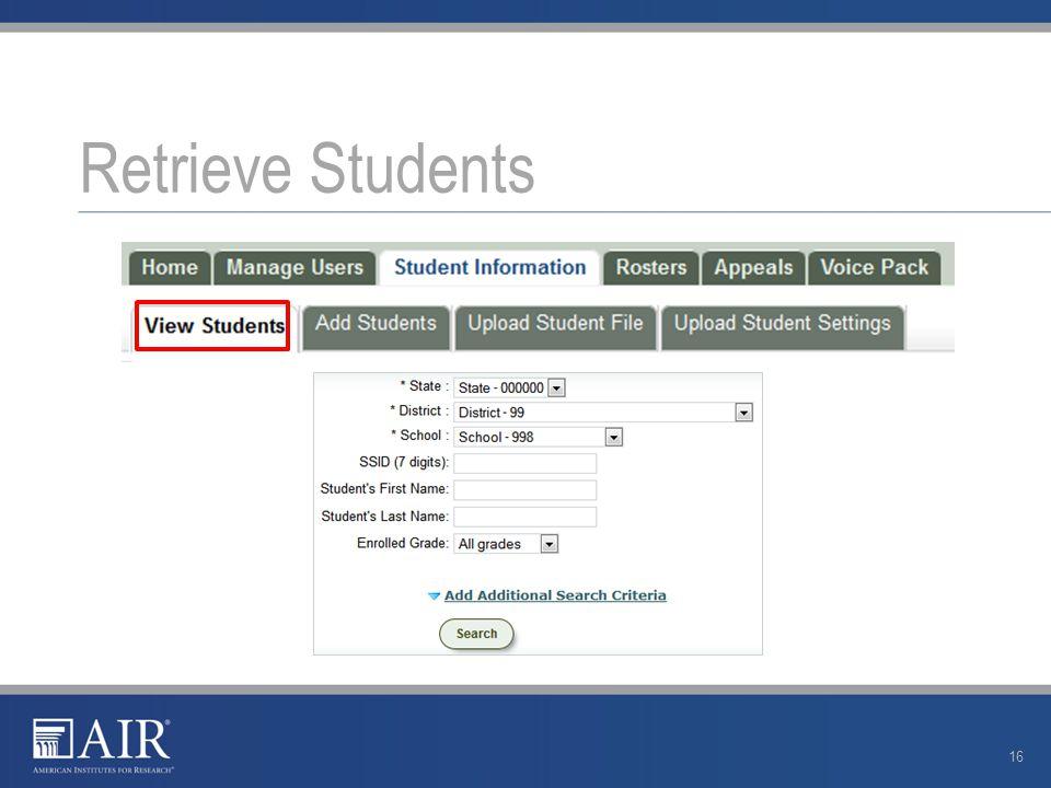 Retrieve Students 16