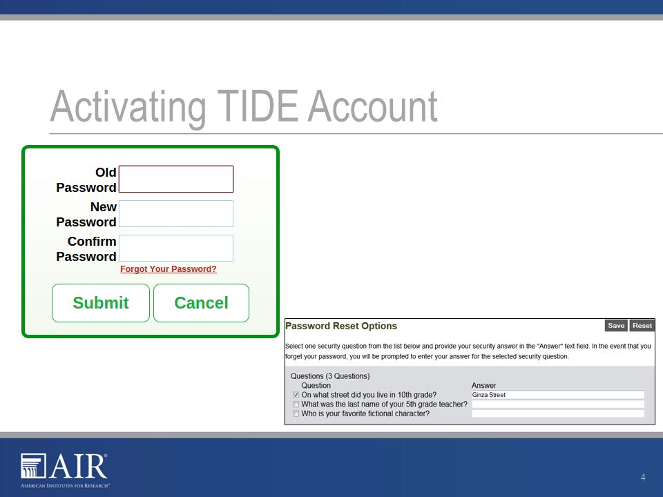 Activating TIDE Account 4