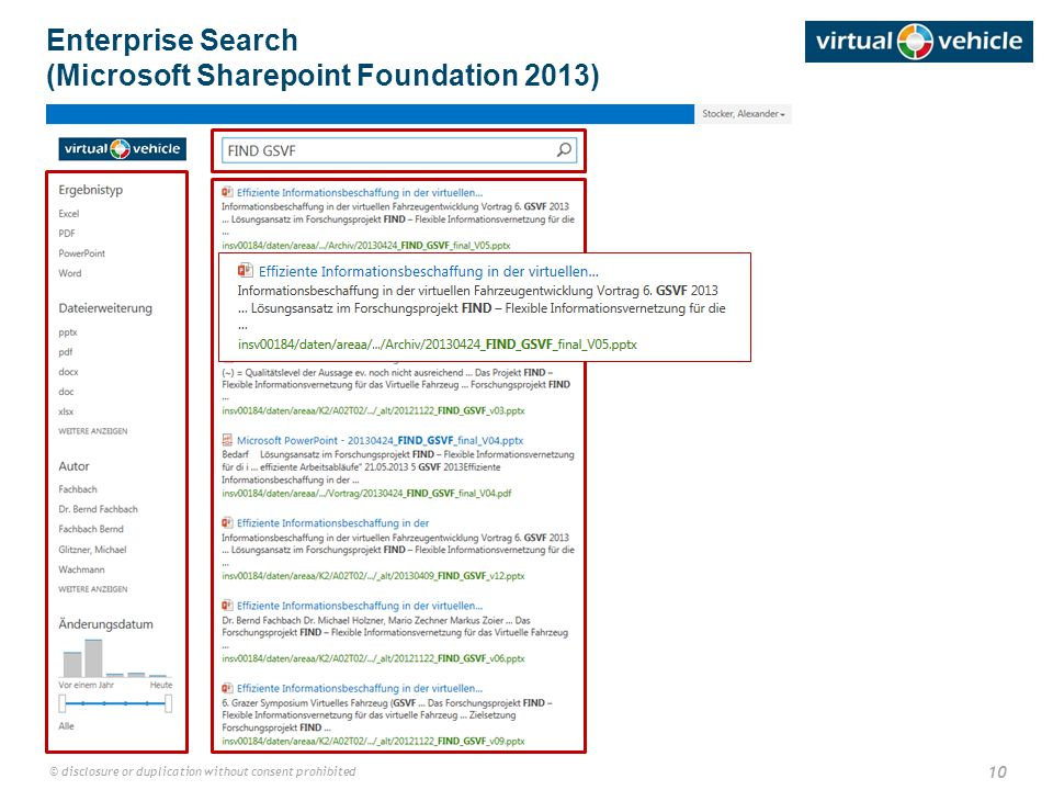 10 © disclosure or duplication without consent prohibited Enterprise Search (Microsoft Sharepoint Foundation 2013)