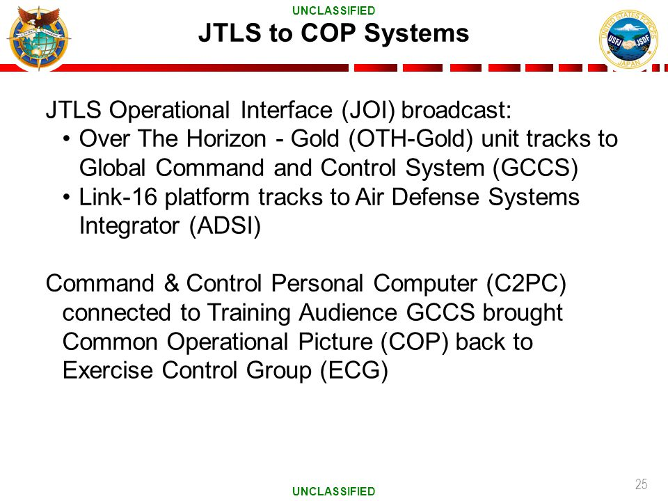 25 JTLS to COP Systems JTLS Operational Interface (JOI) broadcast: Over The Horizon - Gold (OTH-Gold) unit tracks to Global Command and Control System