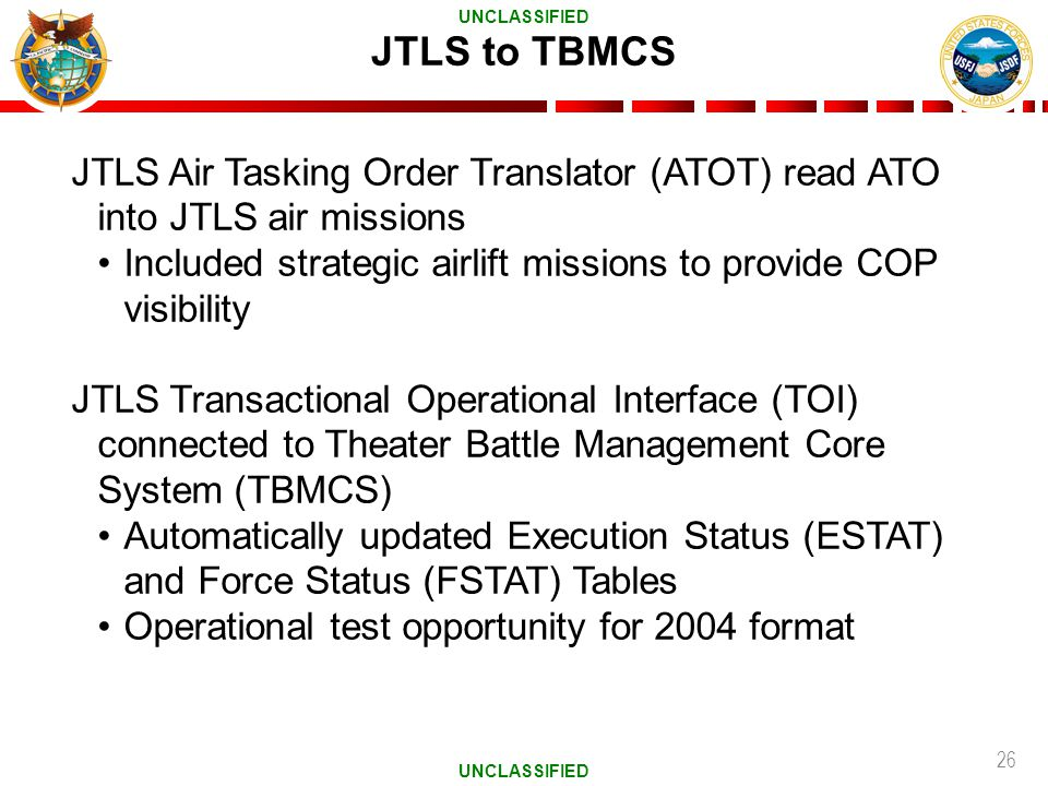 26 JTLS to TBMCS JTLS Air Tasking Order Translator (ATOT) read ATO into JTLS air missions Included strategic airlift missions to provide COP visibilit