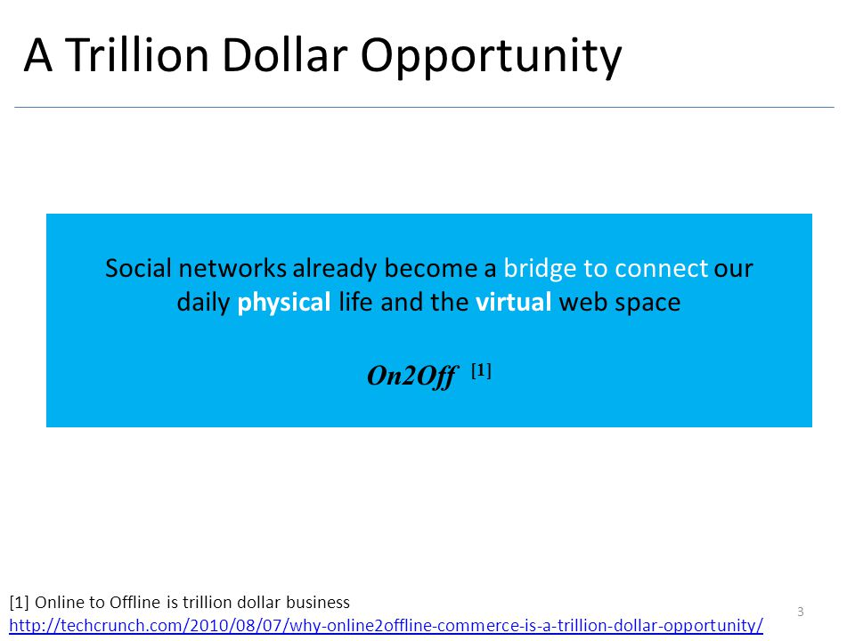 A Trillion Dollar Opportunity 3 Social networks already become a bridge to connect our daily physical life and the virtual web space On2Off [1] [1] On