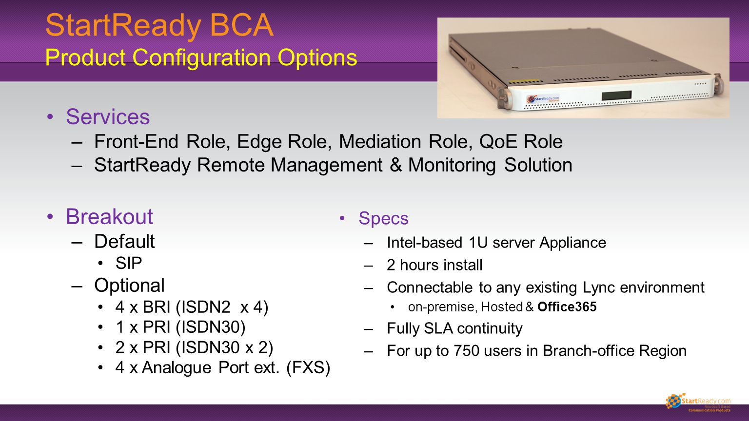 StartReady BCA Product Configuration Options Services –Front-End Role, Edge Role, Mediation Role, QoE Role –StartReady Remote Management & Monitoring