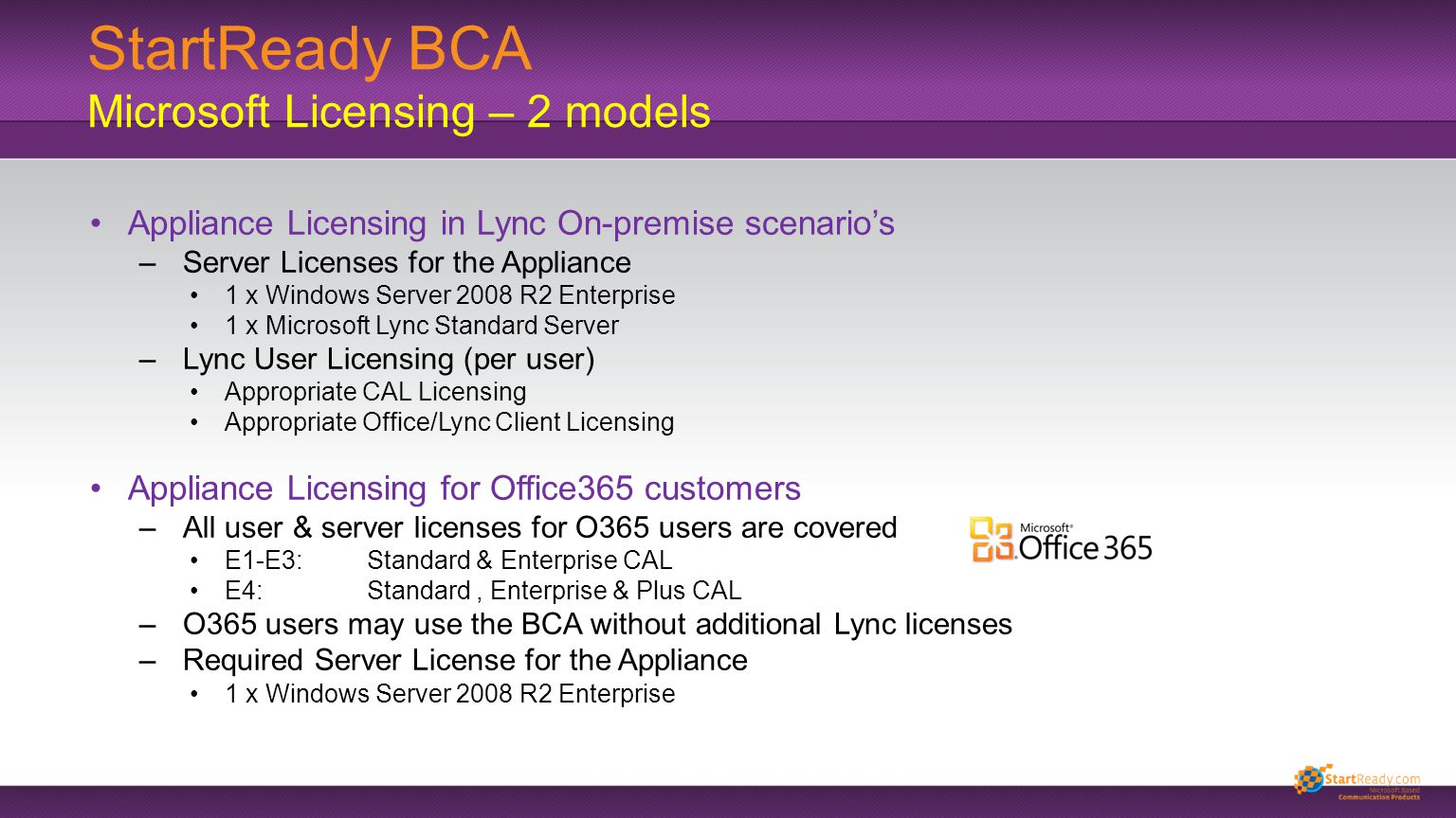 StartReady BCA Microsoft Licensing – 2 models Appliance Licensing in Lync On-premise scenario's –Server Licenses for the Appliance 1 x Windows Server