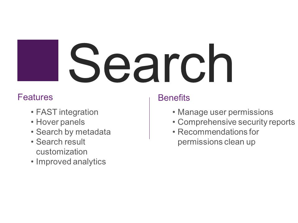 Search Features FAST integration Hover panels Search by metadata Search result customization Improved analytics Benefits Manage user permissions Compr