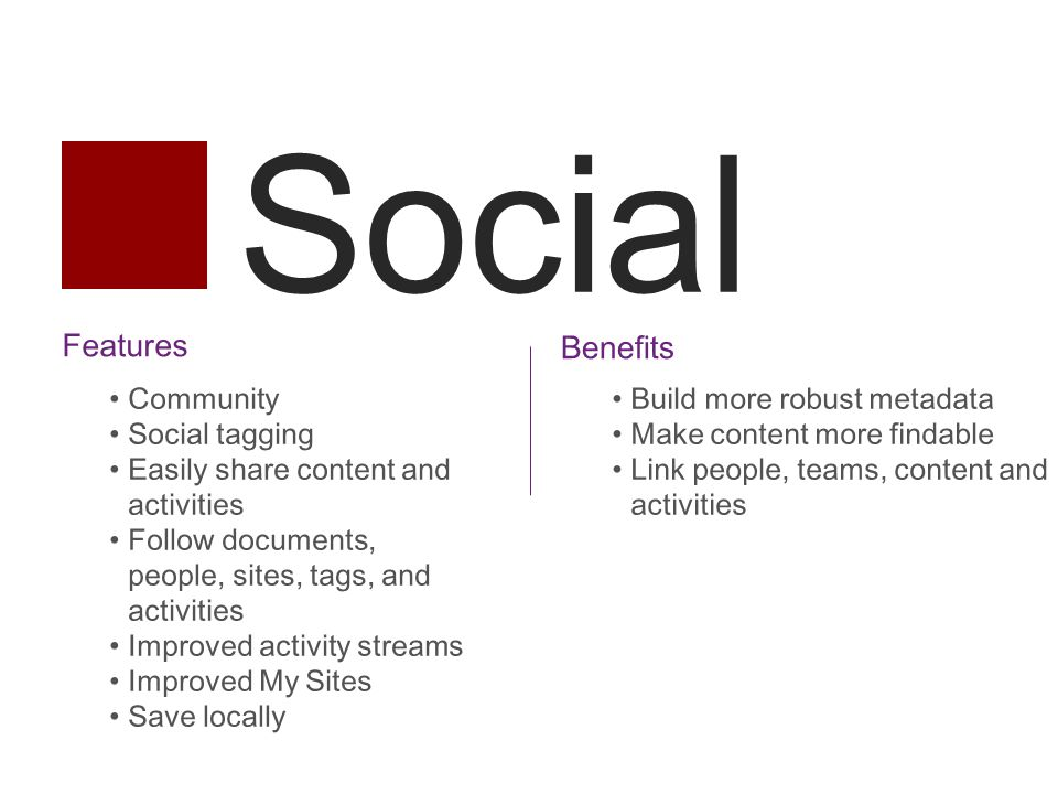 Social Features Community Social tagging Easily share content and activities Follow documents, people, sites, tags, and activities Improved activity streams Improved My Sites Save locally Benefits Build more robust metadata Make content more findable Link people, teams, content and activities