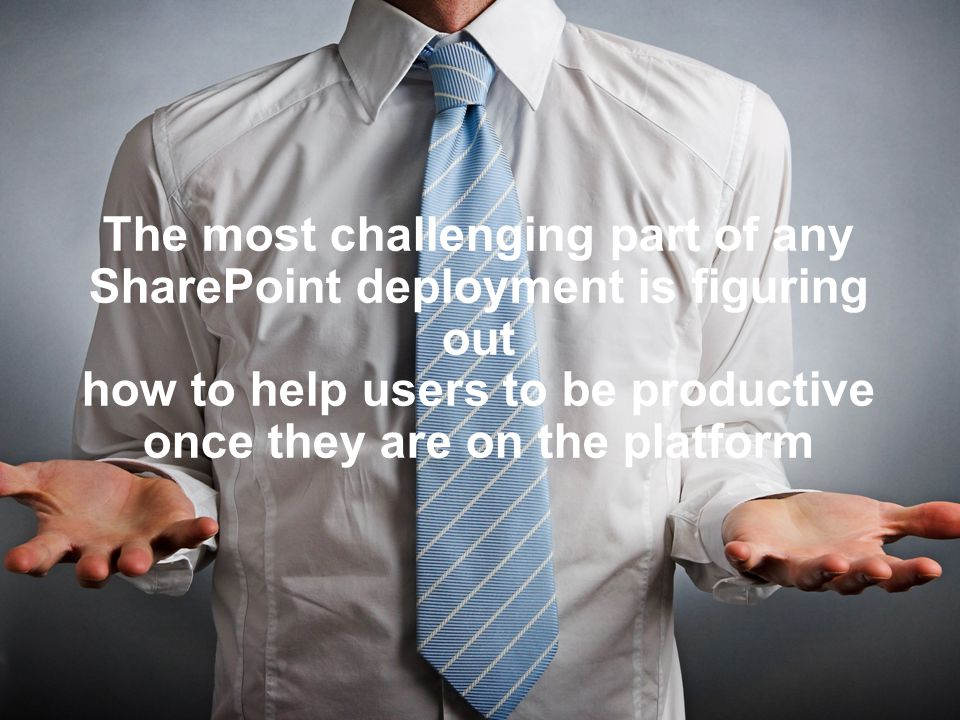 The most challenging part of any SharePoint deployment is figuring out how to help users to be productive once they are on the platform