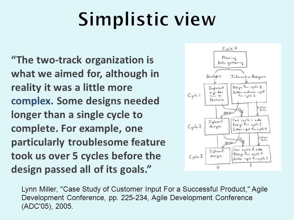 """The two-track organization is what we aimed for, although in reality it was a little more complex. Some designs needed longer than a single cycle to"