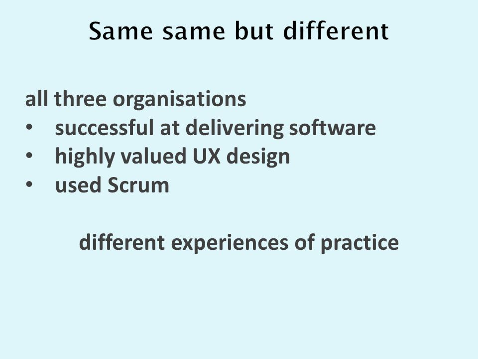 all three organisations successful at delivering software highly valued UX design used Scrum different experiences of practice