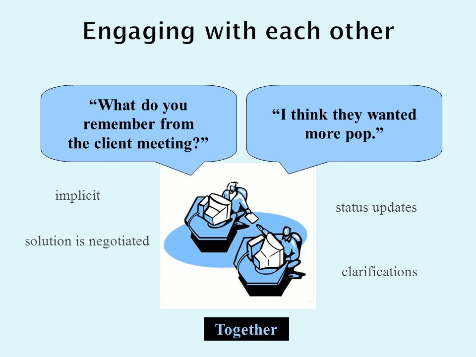 implicit status updates solution is negotiated I think they wanted more pop. What do you remember from the client meeting Together clarifications