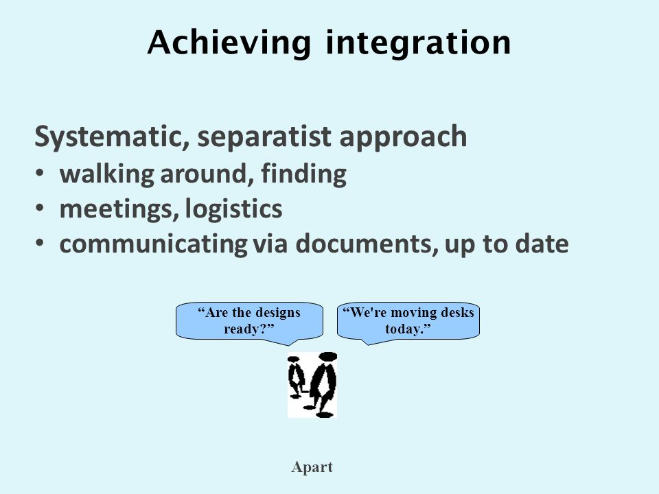 Achieving integration We re moving desks today. Are the designs ready Apart Systematic, separatist approach walking around, finding meetings, logistics communicating via documents, up to date