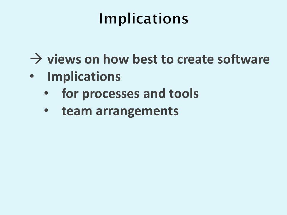 Implications for processes and tools team arrangements